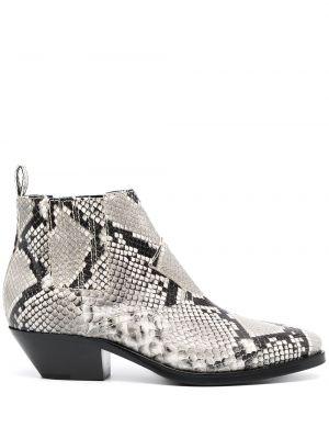 Серые кожаные ботинки на каблуке P.a.r.o.s.h.