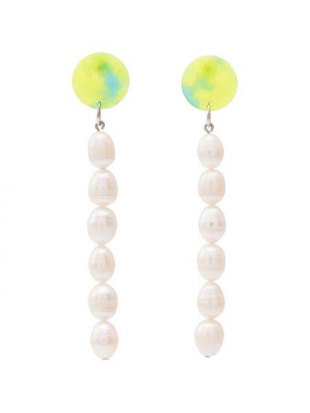 Zielone kolczyki sztyfty perły Aym