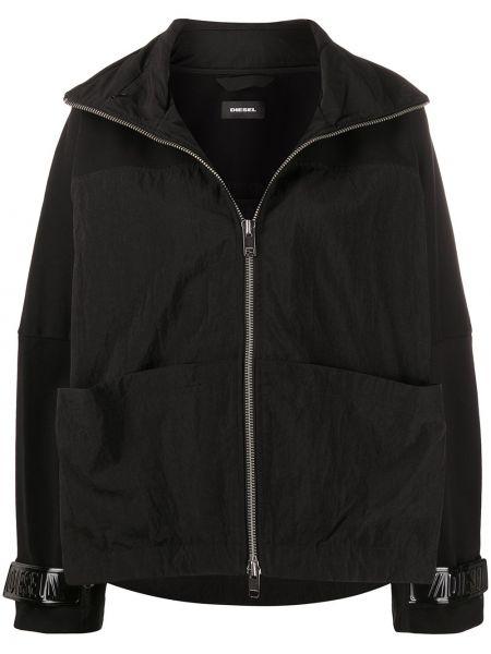 Ватная черная длинная куртка с воротником Diesel