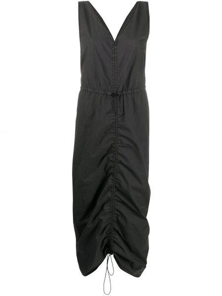 Хлопковое черное платье миди с V-образным вырезом без рукавов Mcq Alexander Mcqueen