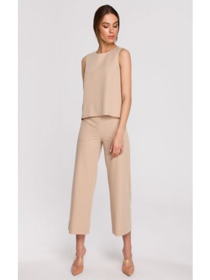 Beżowa bluzka elegancka bez rękawów z wiskozy Stylove
