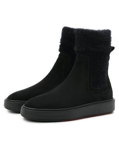 Черные кожаные ботинки Santoni