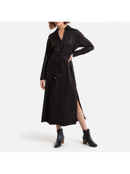 Платье с поясом на пуговицах с разрезами по бокам La Redoute