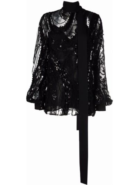 Bluzka z jedwabiu - czarna Elie Saab