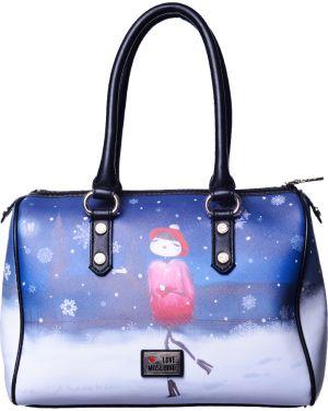 Кожаная сумка - синяя Love Moschino