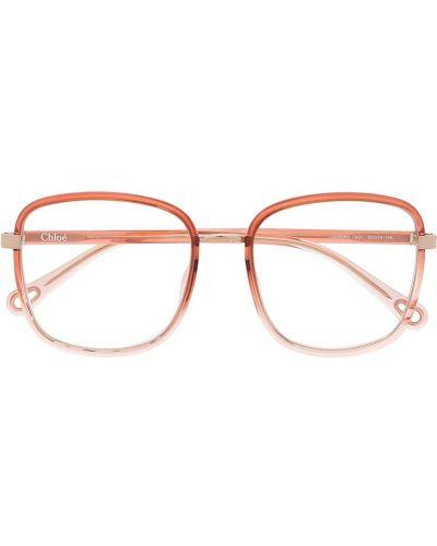 Różowa oprawka do okularów oversize z printem Chloé Eyewear