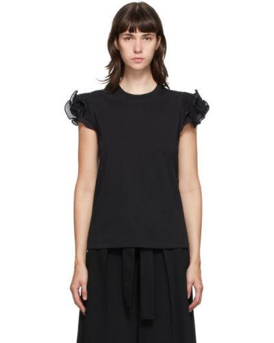 Плиссированная черная рубашка с воротником с оборками See By Chloé