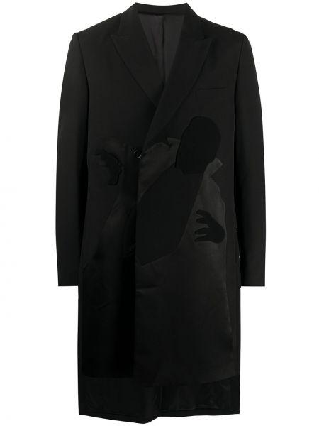 Czarny płaszcz wełniany asymetryczny Undercover