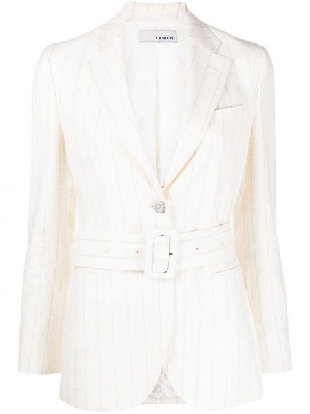 Шелковый белый удлиненный пиджак с карманами Lardini