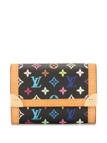 Черный кожаный кошелек с карманами Louis Vuitton