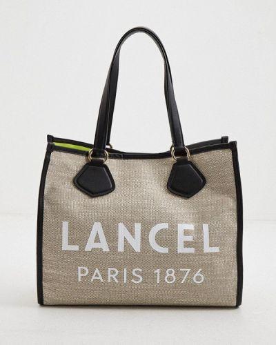 Текстильная бежевая сумка шоппер Lancel