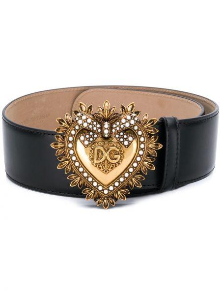 Кожаный черный ремень с пряжкой Dolce & Gabbana