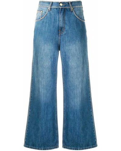 Широкие джинсы со стразами синие Amapô