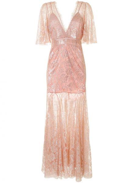 Нейлоновое розовое платье мини с вышивкой с V-образным вырезом Alice Mccall