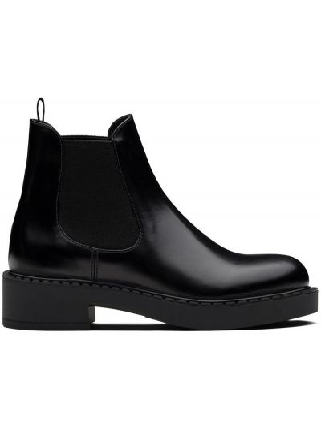 Skórzany czarny buty na pięcie okrągły na pięcie Prada