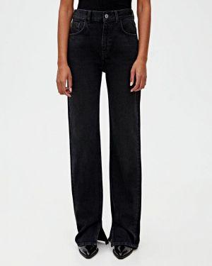 Широкие джинсы расклешенные черные Pull&bear