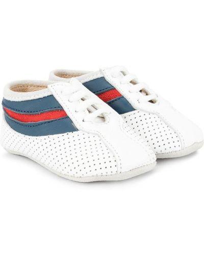 Белые кроссовки со вставками на шнуровке с перфорацией Sonatina Kids
