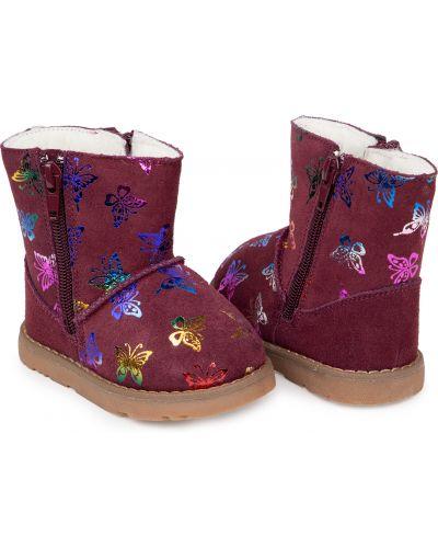 Фиолетовые кожаные угги на молнии Kdx/kidix