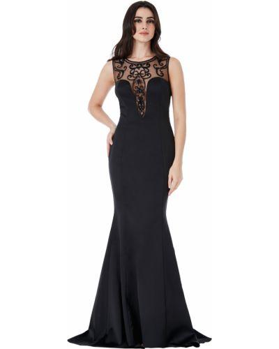 Облегающее черное вечернее платье со стразами Goddiva