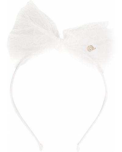 Włókienniczy biały łuk do włosów Maison Michel