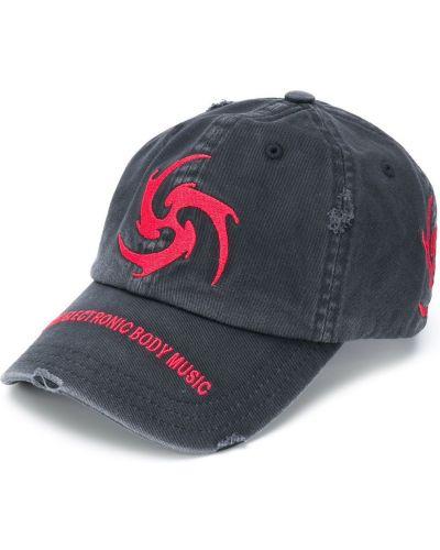 Bawełna z paskiem czarny czapka z ozdobnym wykończeniem z haftem Misbhv