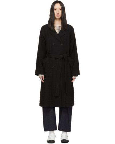 Стеганое черное длинное пальто с воротником с рукавом реглан Raquel Allegra