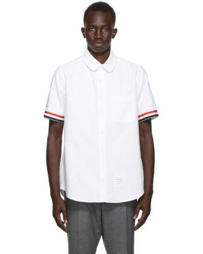 Biały bawełna bawełna z rękawami koszula oxford Thom Browne