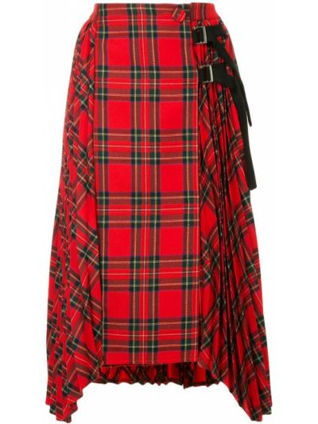 Красная шерстяная приталенная асимметричная плиссированная юбка Sjyp