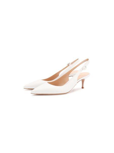 Белые зауженные кожаные туфли с вырезом с подкладкой Gianvito Rossi