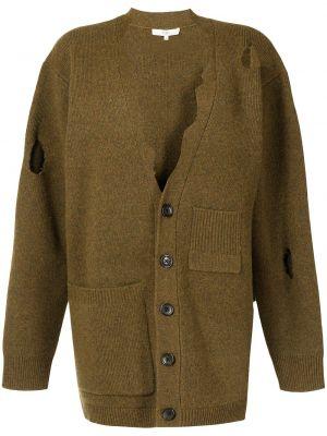 Brązowy sweter z dekoltem w serek Tibi