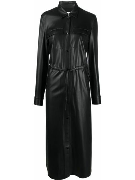 С рукавами кожаное черное платье макси Boss Hugo Boss
