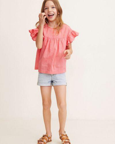 Блуза с вырезом розовый Mango Kids