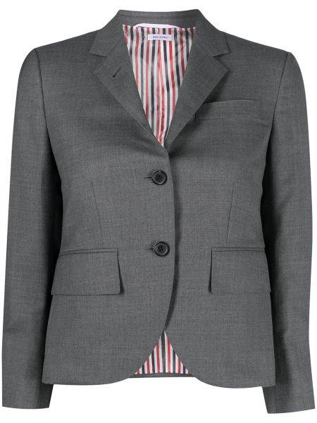 Шерстяной серый однобортный удлиненный пиджак Thom Browne