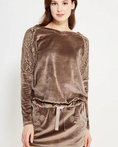 Трикотажное коричневое вязаное платье Relax Mode