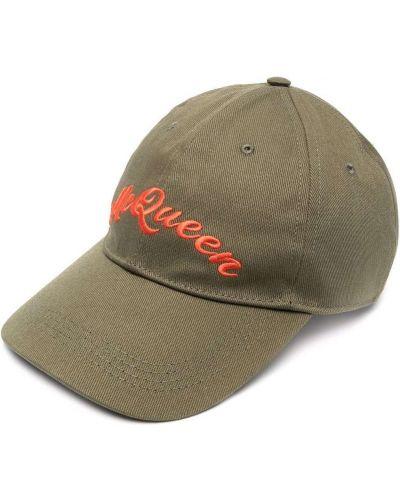 Zielona czapka bawełniana z haftem Alexander Mcqueen