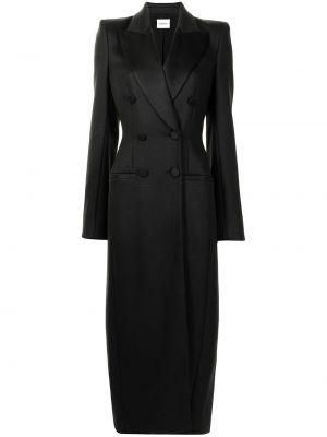 Шерстяное черное длинное пальто двубортное Khaite