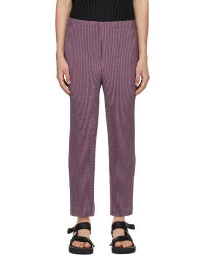 Фиолетовые прямые брюки сетчатые Homme Plissé Issey Miyake