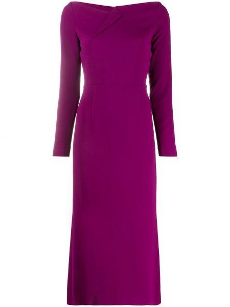 Fioletowa sukienka długa z długimi rękawami z jedwabiu Roland Mouret