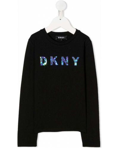 Черный хлопковый топ с длинными рукавами Dkny Kids