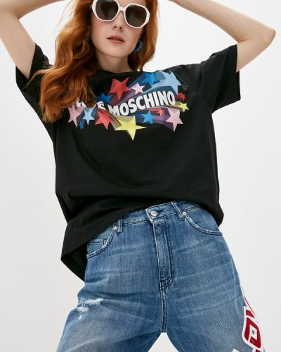 Черная футболка с короткими рукавами Love Moschino