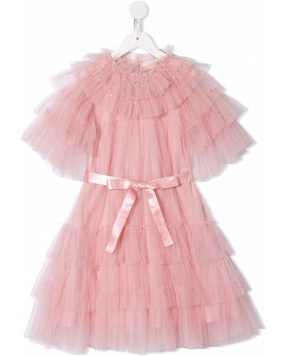 Розовое платье с рукавами из фатина с вырезом круглое Tutu Du Monde