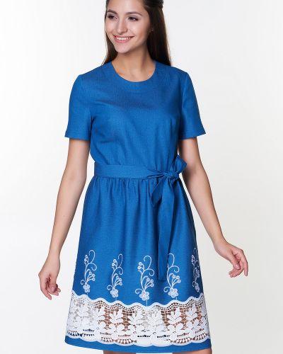 Джинсовое платье с поясом Valentina