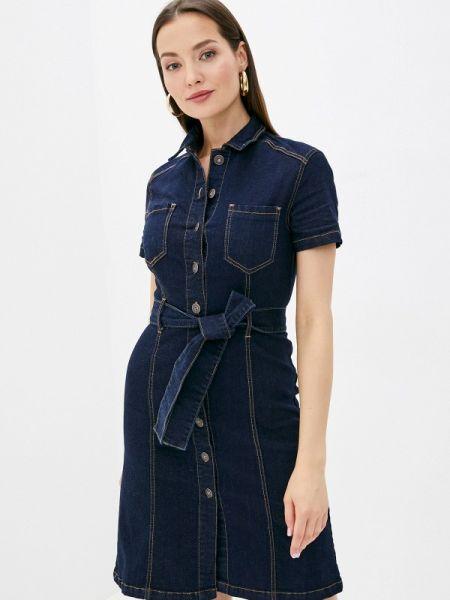 Джинсовое платье синее весеннее Zarina