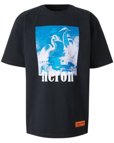 Czarny t-shirt bawełniany oversize Heron Preston