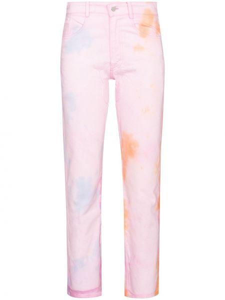 Spodnie z wysokim stanem z paskiem - różowe Collina Strada