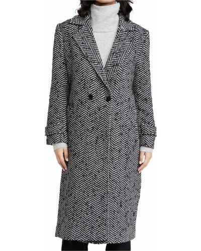 Шерстяное длинное пальто двубортное с карманами Anine Bing