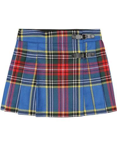 Плиссированная юбка шотландка кожаная Bonpoint