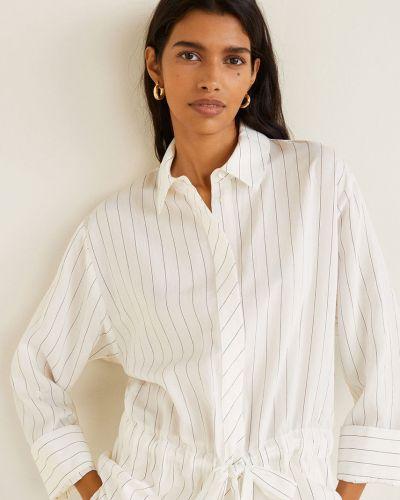 Блузка с длинным рукавом в полоску в клетку Mango