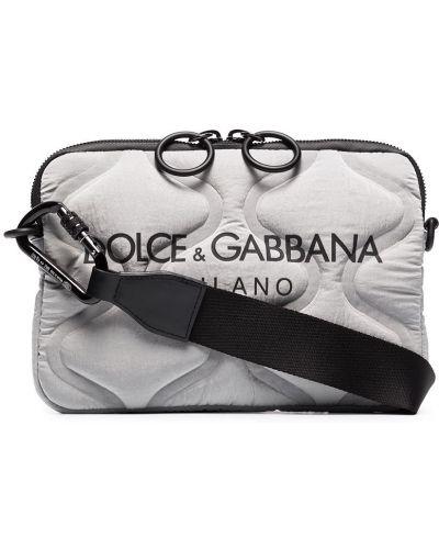 Кожаная стеганая серая сумка через плечо Dolce & Gabbana