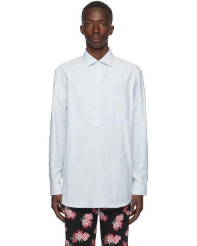 Bawełna koszula oxford z mankietami z kieszeniami z haftem Gucci